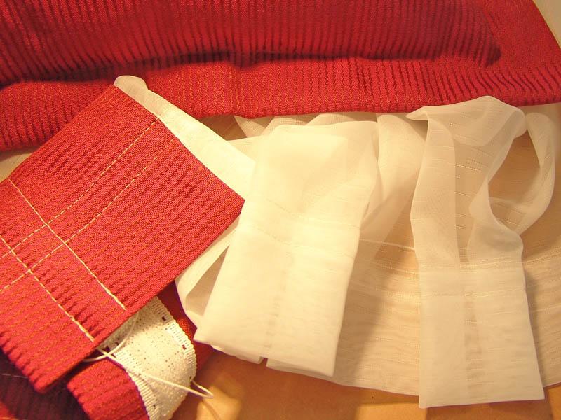 Stoffdekoration rot - beige